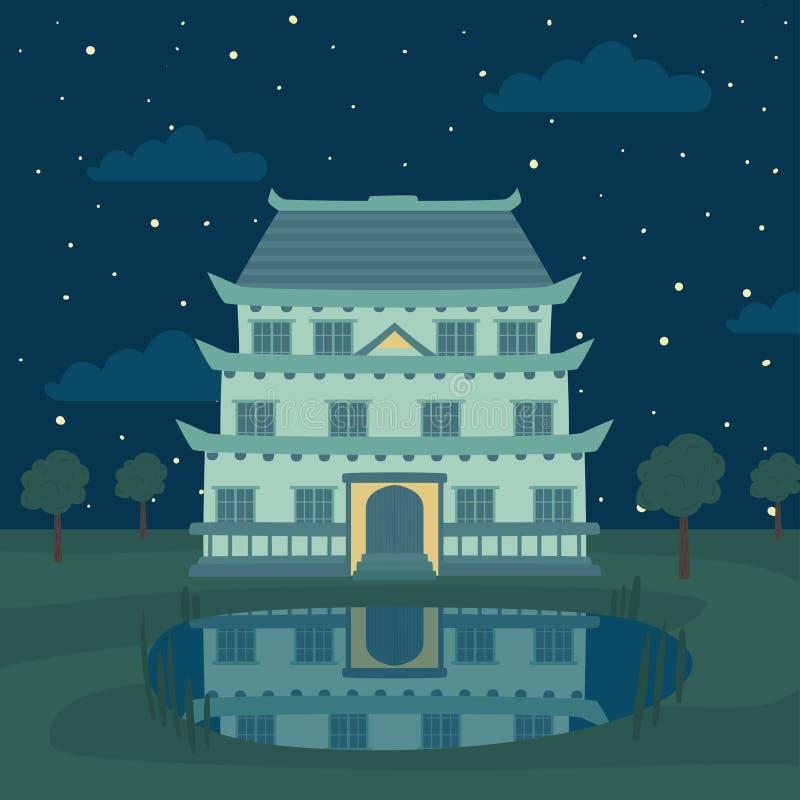 Pagoda, Japonais traditionnel, Chinois, bâtiment asiatique et lac la nuit, élément pour l'histoire de conte de fées pour des enfa illustration stock
