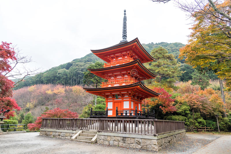 Pagoda in Kiyomizu-dera temple in autumn season. Kyoto, Japan.  stock photography