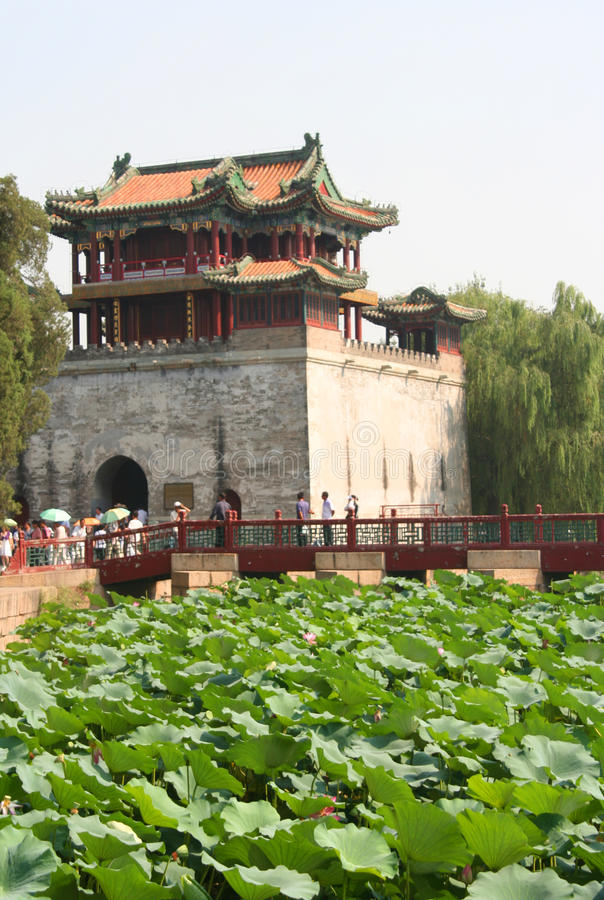Pagoda and lotus flowers in summer palace stock image