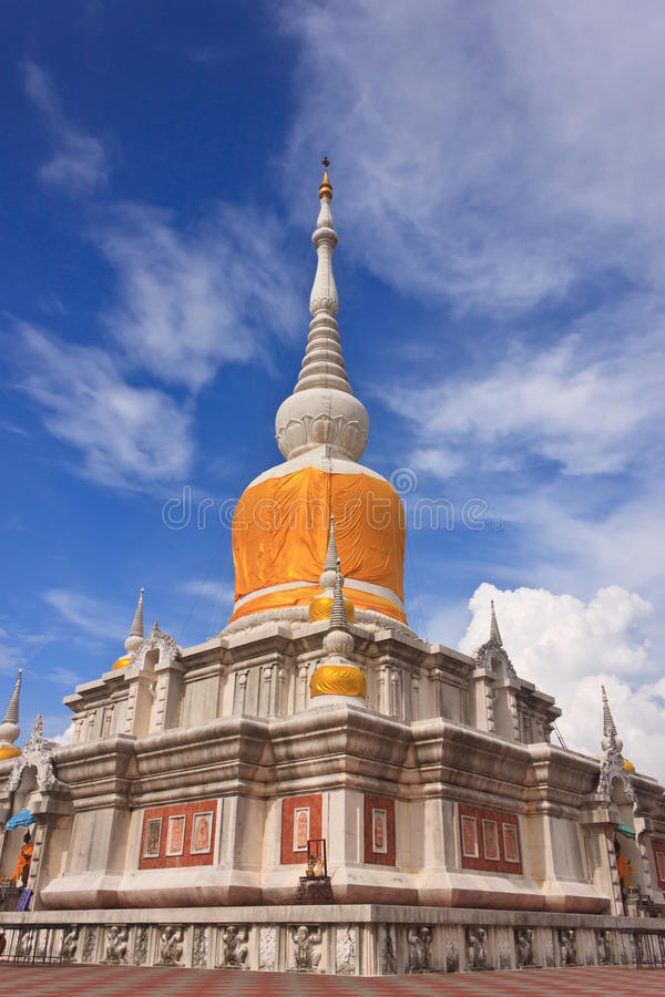 The pagoda at Mahasarakham stock photography