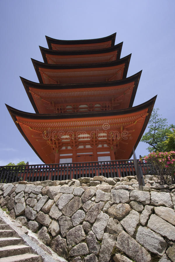 Pagoda in Miyajima, Japan royalty free stock photography