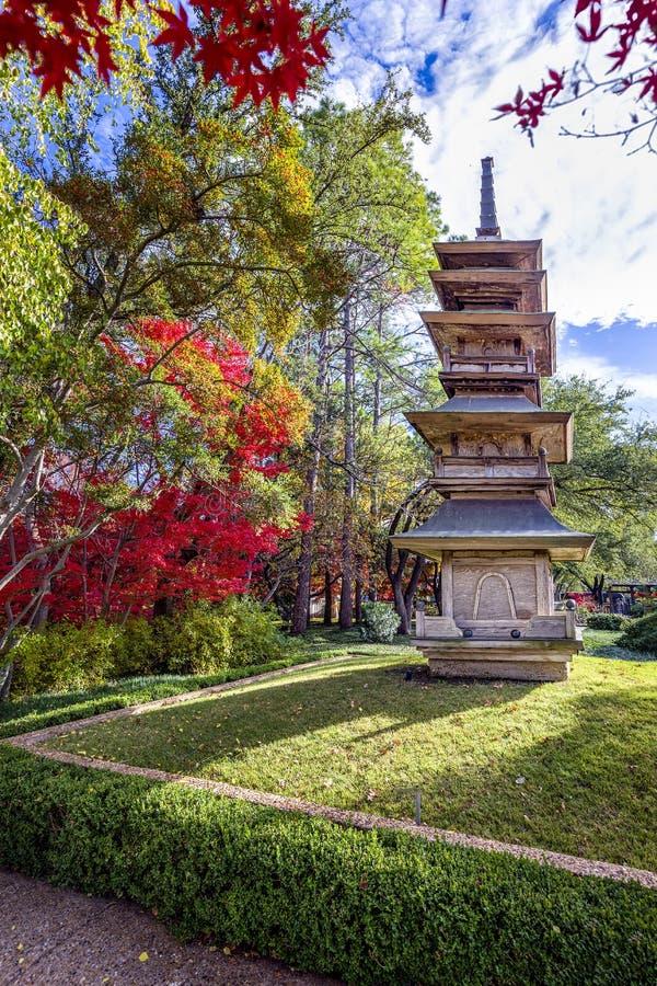 Pagoda nei giardini del giapponese di Fort Worth fotografia stock