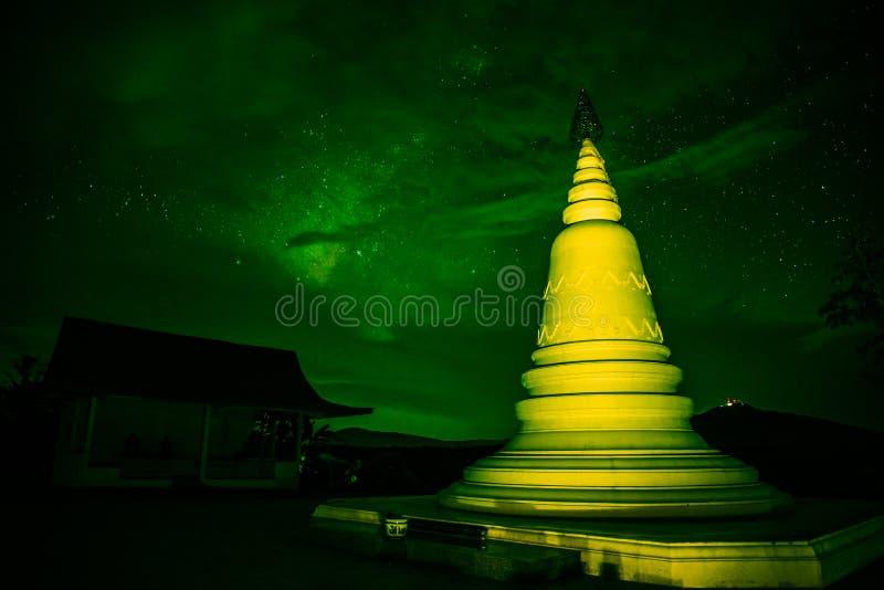 Pagoda at night green stock photos