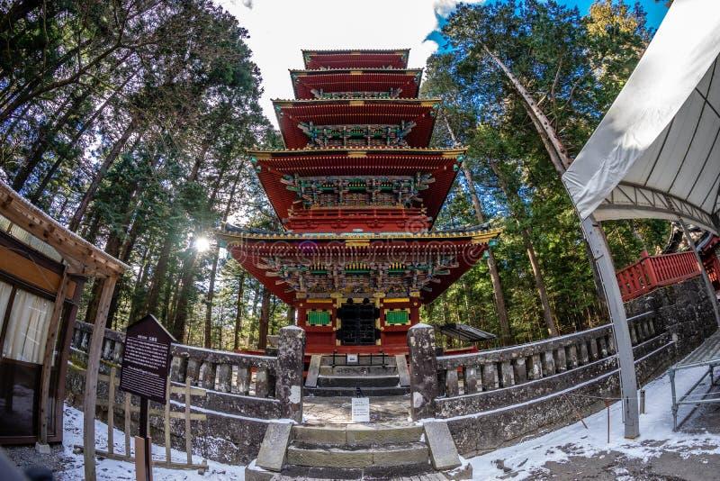 Pagoda Nikko, Jap?n de la historia de Toshogu Gojunoto cinco fotografía de archivo