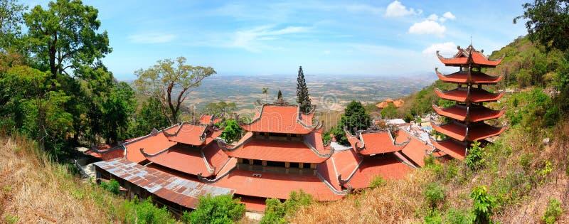 Pagoda of Nirvana Buddha on Ta Cu mountain in Vietnam, Panorama stock photography