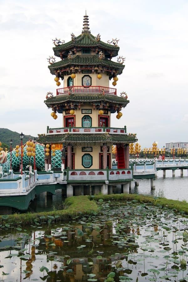 Pagoda och damm royaltyfria foton