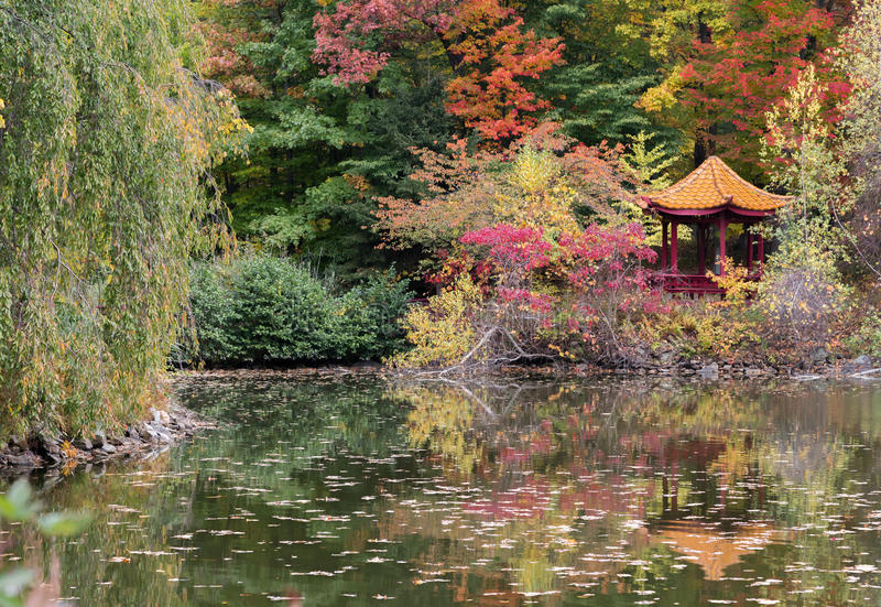Pagoda. A peaceful scene of a pagoda and fall foliage on the grounds of the Chuang Yen Monastery in Putnam County, New York royalty free stock photos
