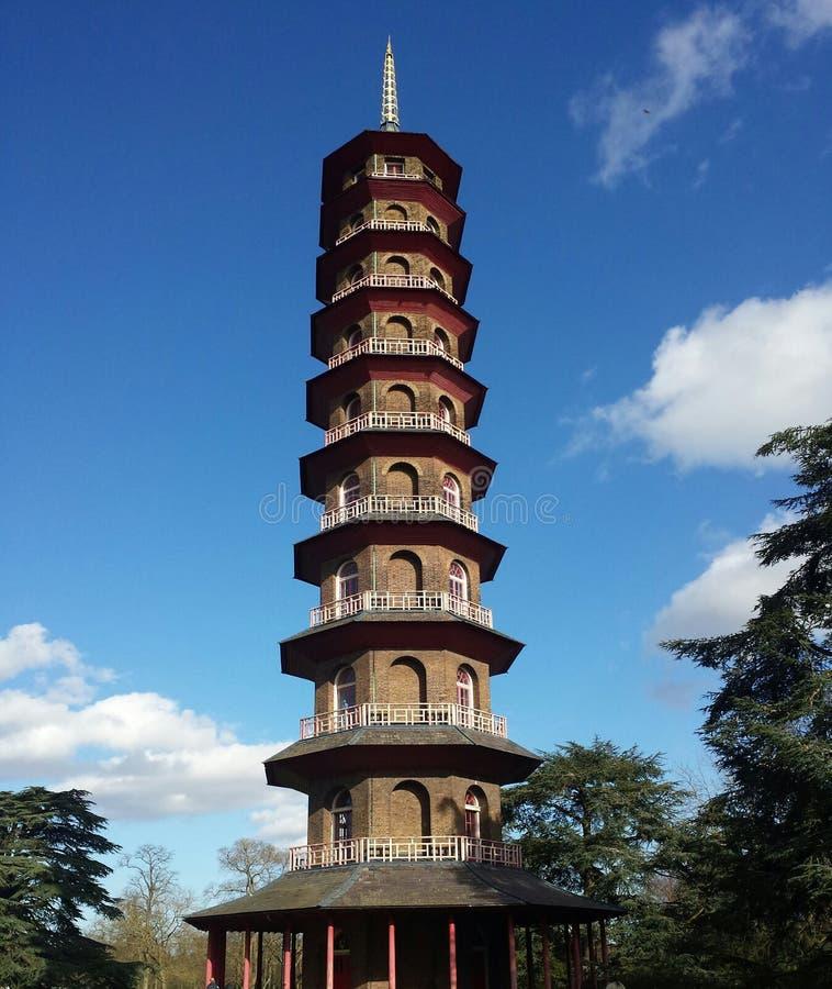 Pagoda przy kew uprawia ogródek, Londyn, Zjednoczone Królestwo zdjęcia royalty free