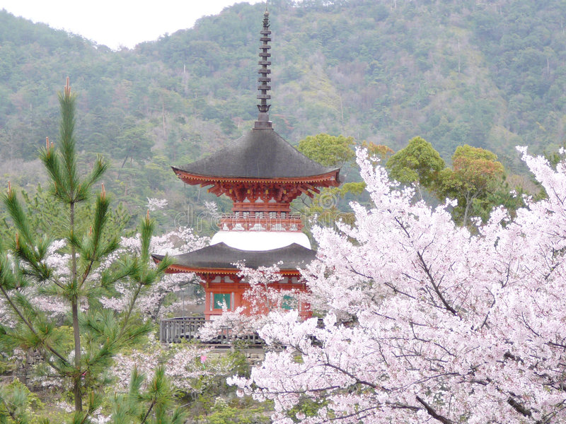 Pagoda in the rain. Small pagoda in warm spring rain on the island of Miyajima, Japan stock image