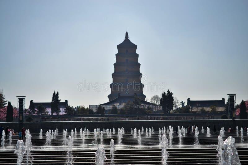 Pagoda sauvage d'oie, tour dans Xian, Shaanxi Chine photos stock