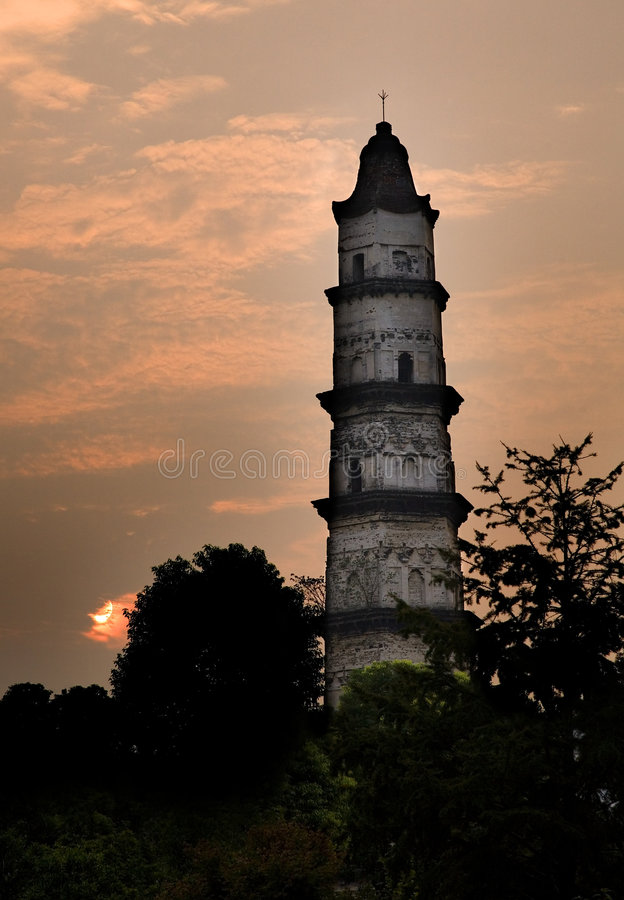 Pagoda Shaoxing China. Great Mercy Pagoda Shaoxing China at Sunrise stock photo