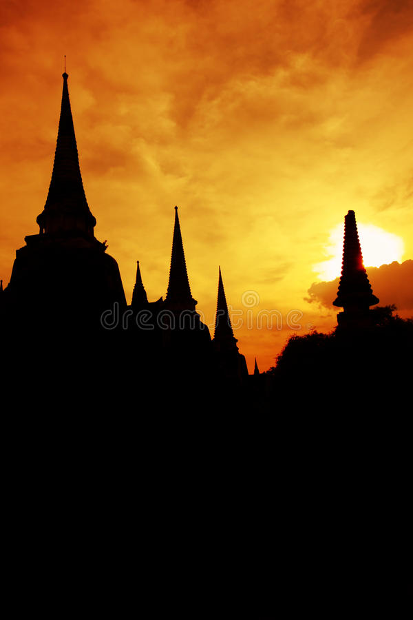 Download Pagoda silhouette stock photo. Image of dawn, light, ayutthaya - 33339418