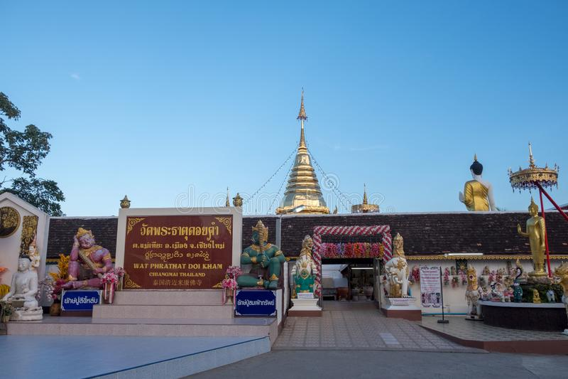 Pagoda stupa at Wat-Pratatdoikham temple name royalty free stock image
