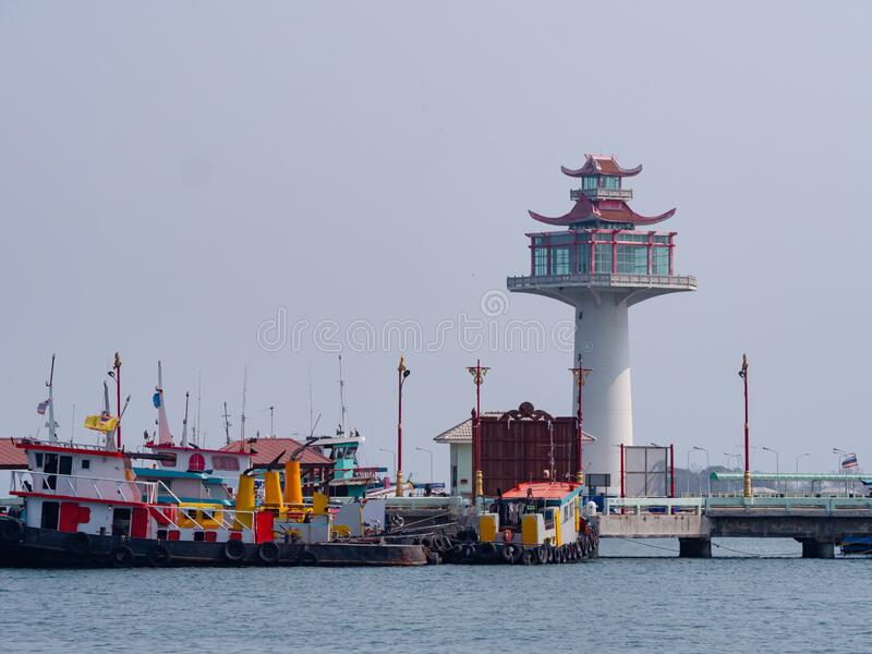 The pagoda style lighthouse at Ko Sichang, Thailand royalty free stock images