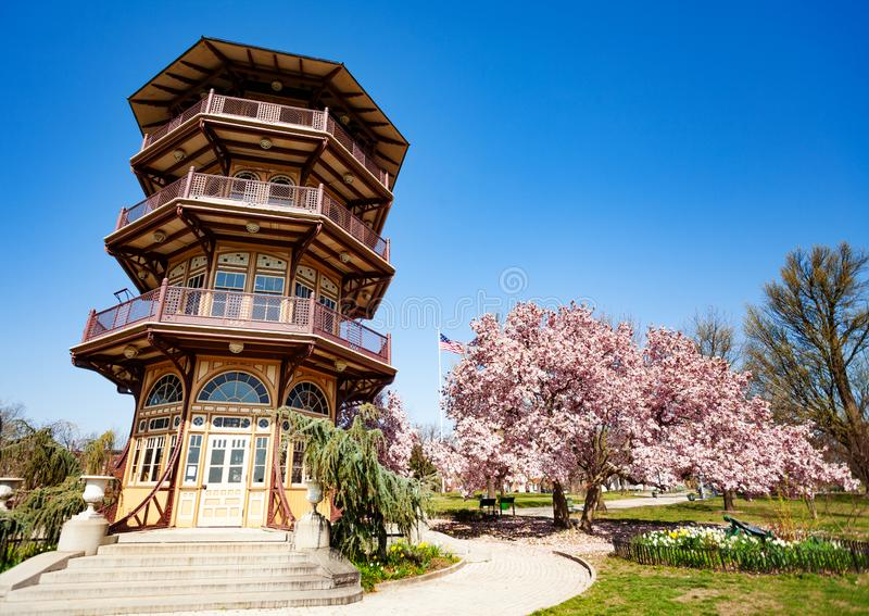Pagoda Observatory in Patterson park, Baltimore, USA. Pagoda-style Observatory in Patterson park in spring, Baltimore, USA royalty free stock images