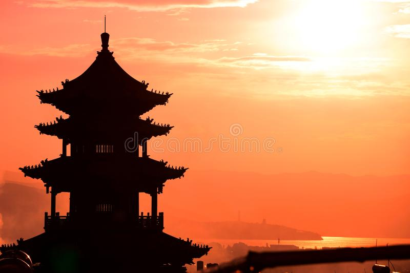 Pagoda in Sunset royalty free stock image