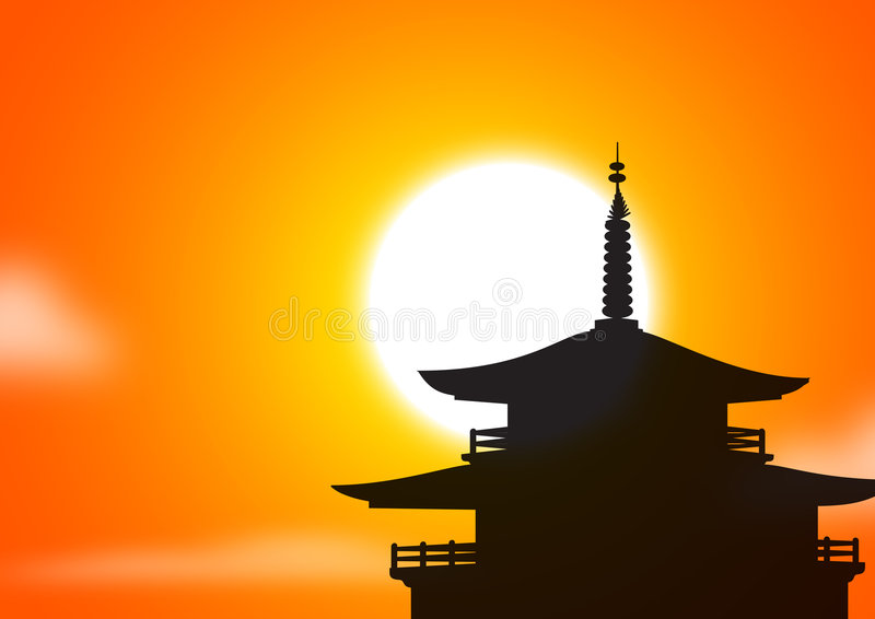 Pagoda sunset silhoutte royalty free illustration