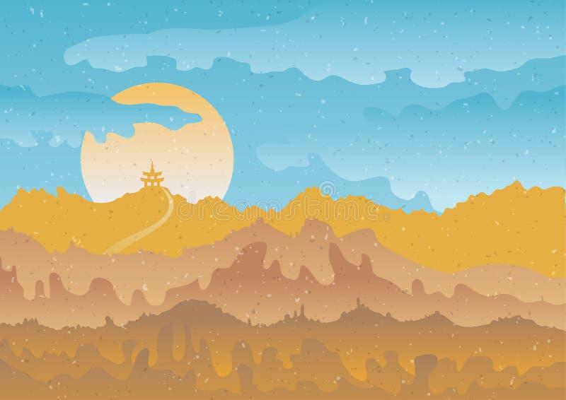 Pagoda sur le fond du lever de soleil/du coucher du soleil dans les montagnes Illustration de vecteur dans le type de cru illustration libre de droits