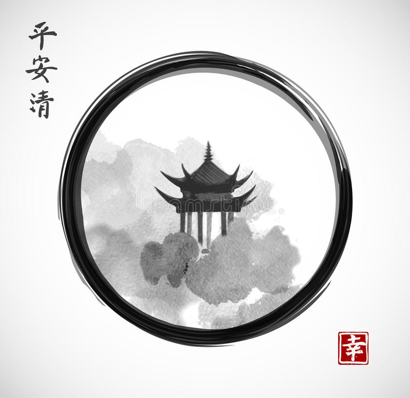 Free Pagoda Temple And Forest Trees In Black Enso Zen Circle On White Background. Traditional Oriental Ink Painting Sumi-e, U Stock Photography - 98120632