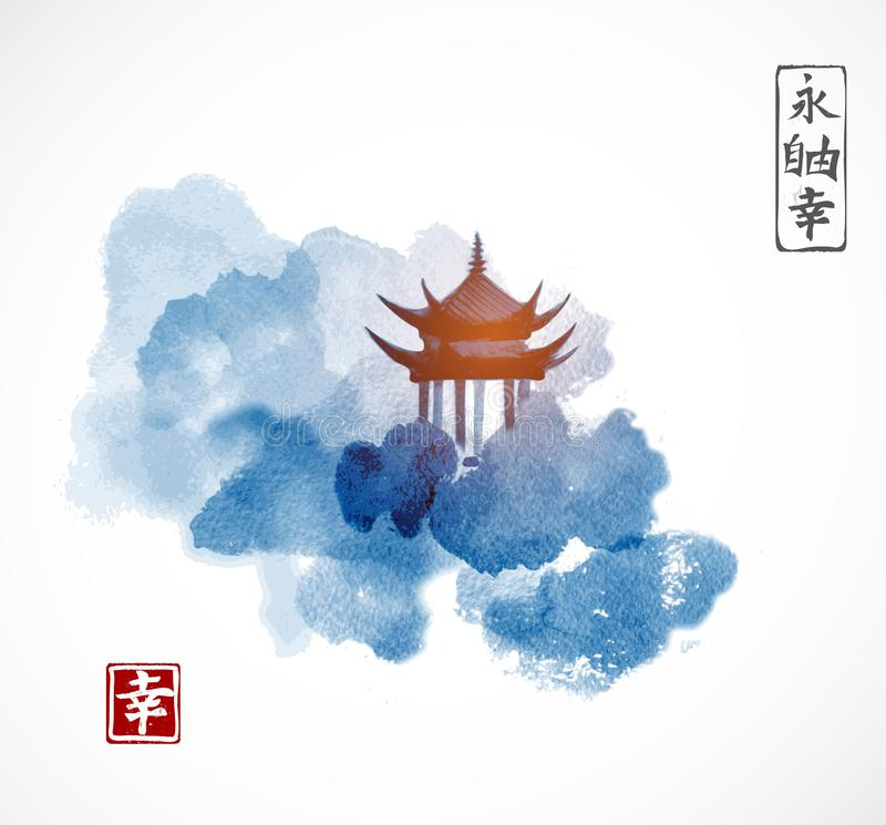 Free Pagoda Temple And Forest Trees On White Background. Traditional Oriental Ink Painting Sumi-e, U-sin, Go-hua. Contains Stock Images - 103218074
