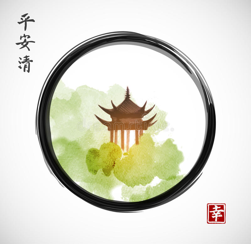 Pagoda temple and forest trees in black enso zen circle on white background. Traditional oriental ink painting sumi-e, u-sin, go-hua. Hieroglyphs - spirit royalty free illustration