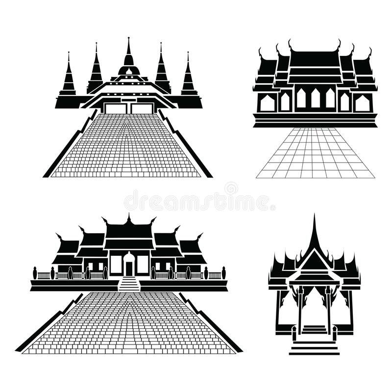 Pagoda and temple silhouette black icon. The Pagoda and temple silhouette black icon royalty free illustration