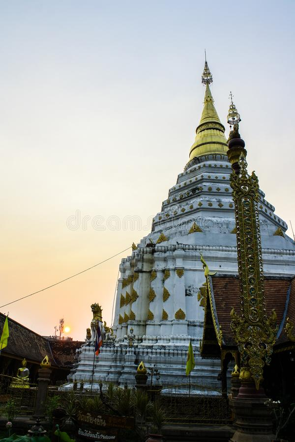 Pagoda of temple and sunrises royalty free stock photography