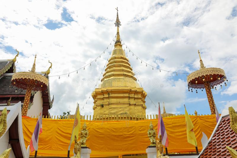 Pagoda at temple in Thailand. stock photo
