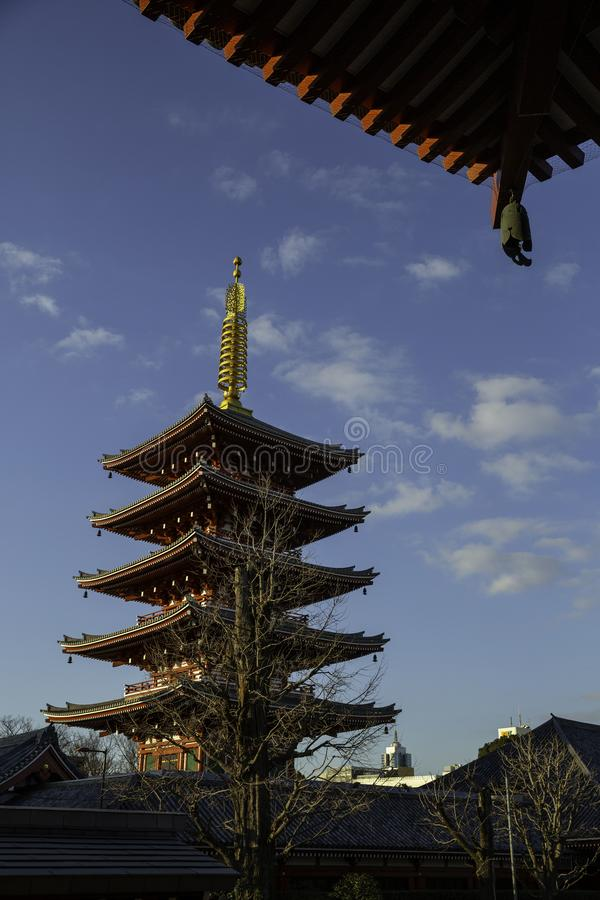 Pagoda in the temple Tokyo Japan royalty free stock images