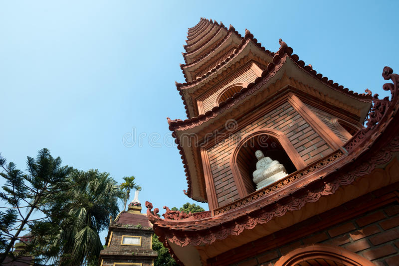 Pagoda of Tran Quoc temple in Hanoi, Vietnam. This image shows the Pagoda of Tran Quoc temple in Hanoi, Vietnam royalty free stock photos