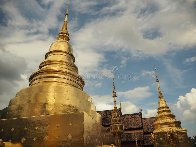 pagoda Wat Phra Singh, Chiang Mai image stock
