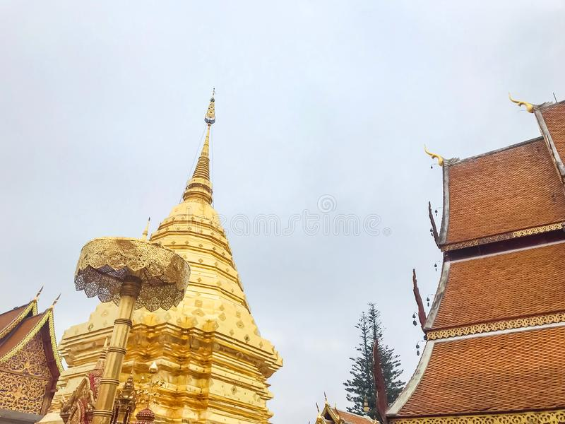 Pagoda at Wat Phrathat Doi Suthep, Chiang Mai, Thailand. Beautiful of historic city at buddhism temple royalty free stock image