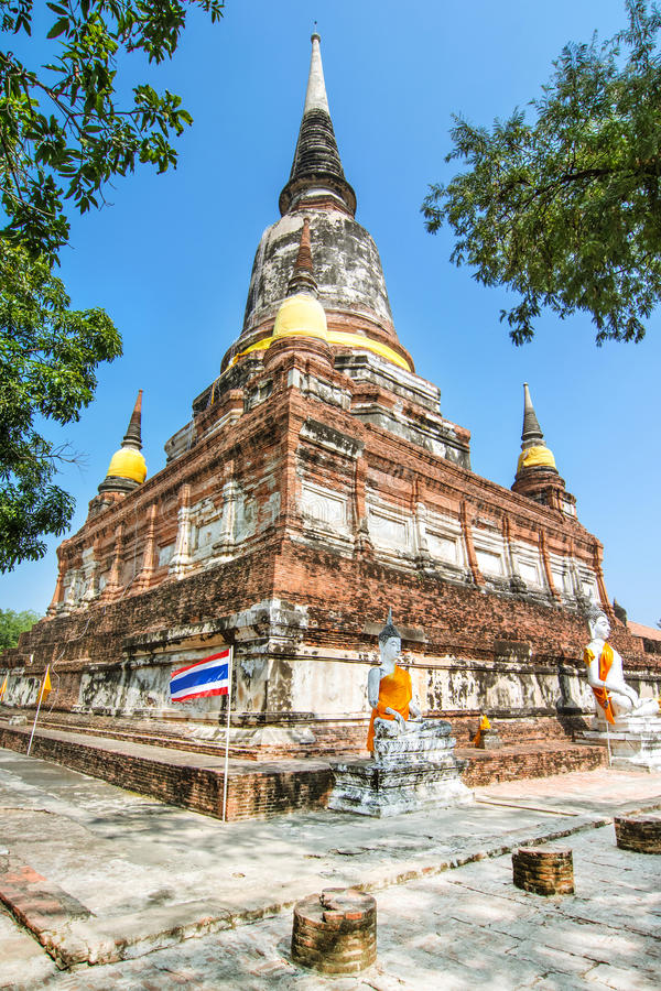 Pagoda at Wat Yai Chaimongkol, Ayuthaya,Thailand royalty free stock photos