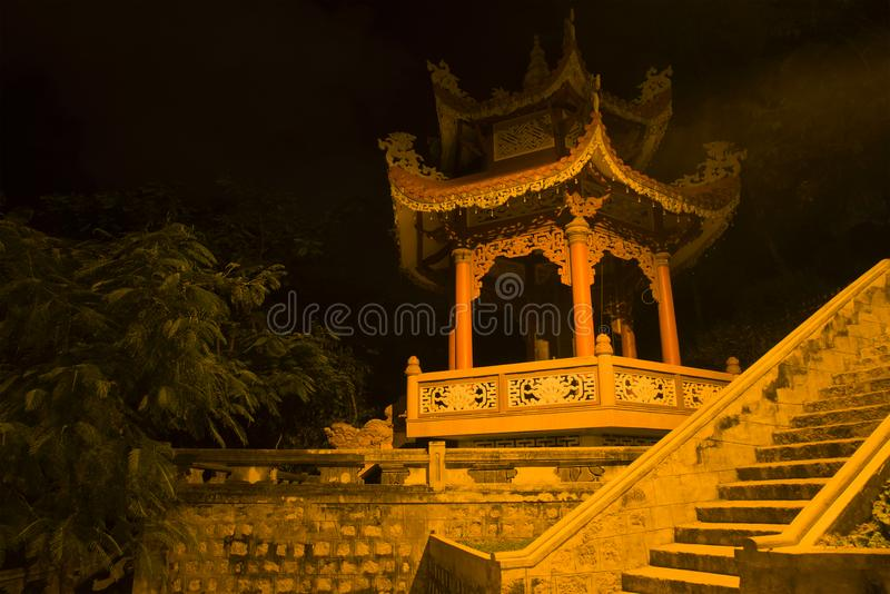 Pagoda with the Wish Bell in the Buddhist temple of Long Shon. Nha Trang, Vietnam stock image