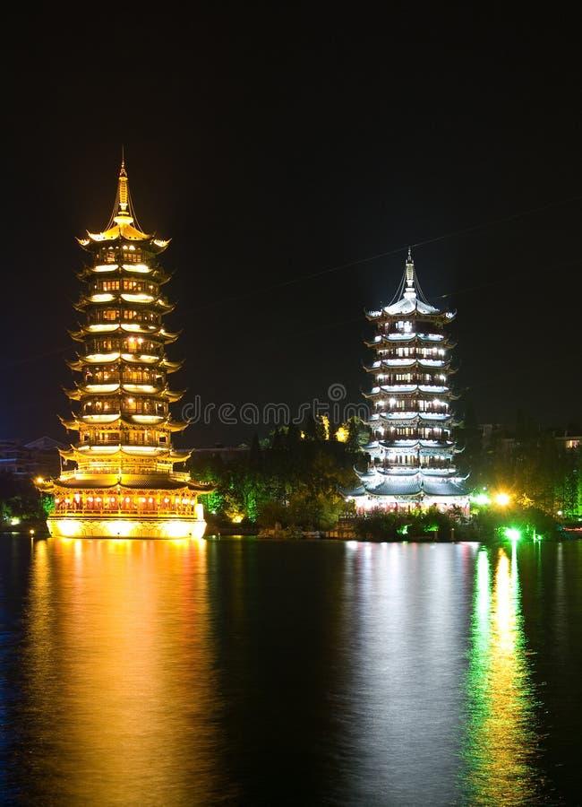 Pagodas in Banyan Lake in downtown Guilin stock photos
