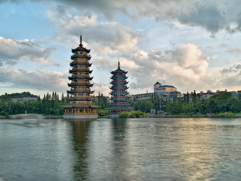 Pagodas In Banyan Lake In Downtown Guilin Stock Images