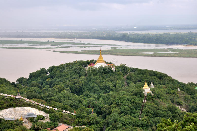 Pagodas that dot Sagaing royalty free stock images