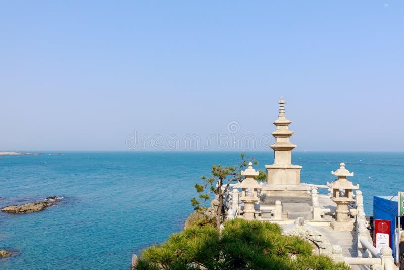 Pagodas in haedong yonggungsa temple. In Busan, South Korea stock images