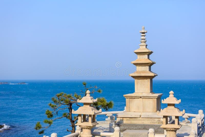 Pagodas in haedong yonggungsa temple. In Busan, South Korea royalty free stock photo