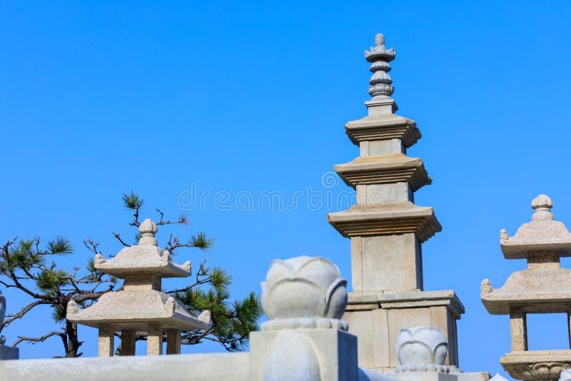 Pagodas in haedong yonggungsa temple. In Busan, South Korea stock photography