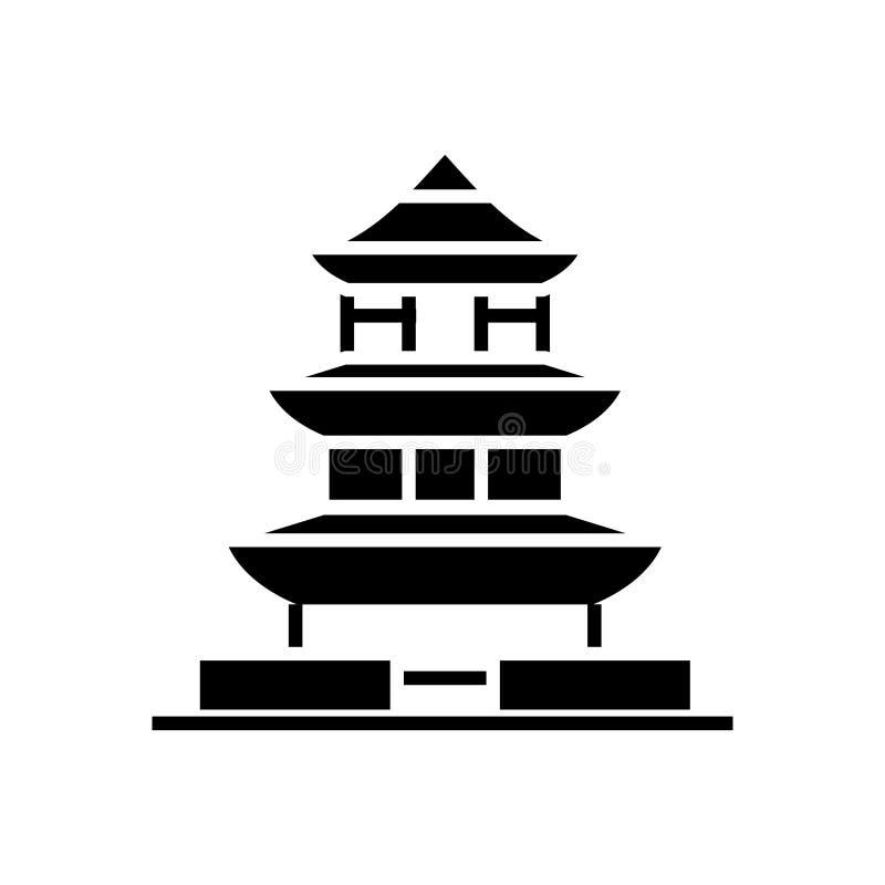 Pagode - ícone de japão, ilustração do vetor, sinal preto no fundo isolado ilustração royalty free