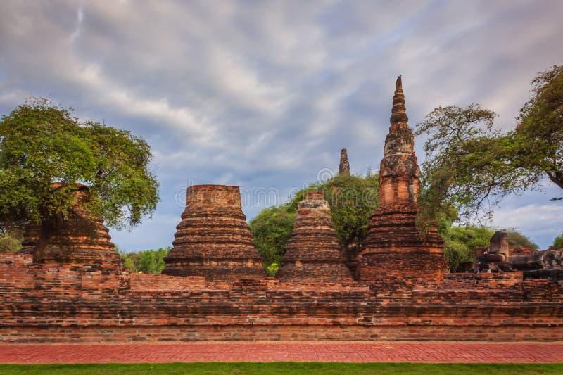 Pagode antigo, local arqueológico em Ayutthaya fotografia de stock