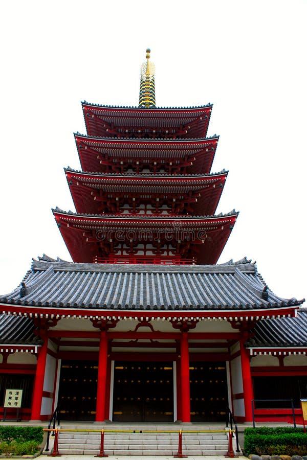 Pagode außerhalb des Sensou-ji Tempels in Asakusa, Tokyo lizenzfreies stockbild