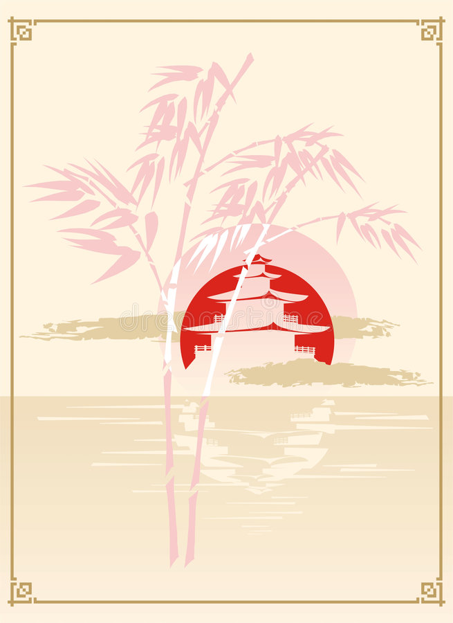 Pagode, Bamboe en Zon vector illustratie