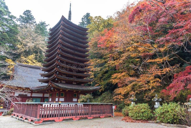 Pagode bij Tanzan-Heiligdom in de herfst, Nara Prefecture, Japan royalty-vrije stock foto