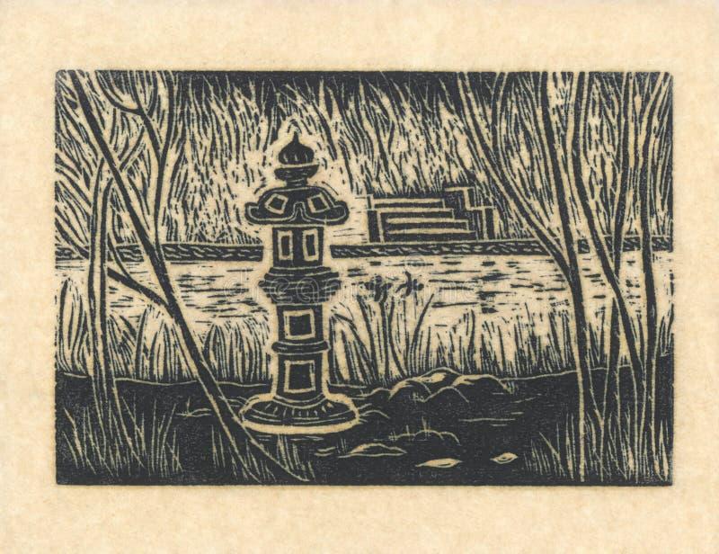 Pagode - bloco xilográfico original Yello ilustração stock