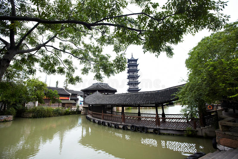 Pagode chinês na cidade de Wuzhen foto de stock royalty free