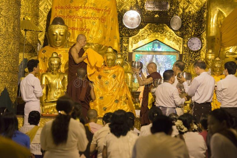 PAGODE DE ÁSIA MYANMAR YANGON SHWEDAGON fotografia de stock