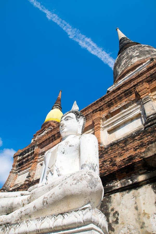 Pagode de Chai-mongkol em Wat Yai Chai-mongkol Ayutthaya Tailândia fotos de stock