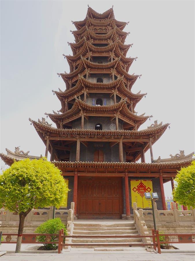Pagode de madeira chinês antigo da torre, província de Zhangye, Gansu, China imagem de stock royalty free